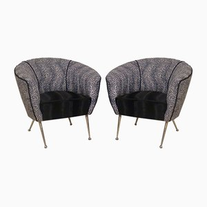 Velvet & Brass Armchairs, 1950, Set of 2
