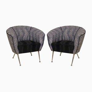 Velvet & Brass Armchairs, 1950, Set of 2