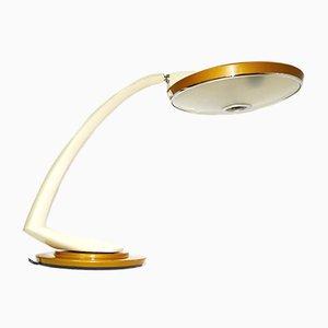 Vintage Boomerang 2000 Schreibtischlampe in Senfgelb & Weiß von Fase