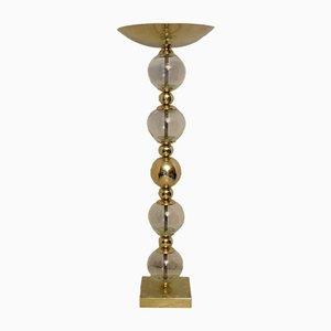 Lámpara de pie de cristal de Murano y latón, años 50