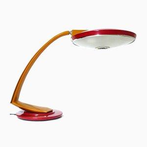 Vintage Boomerang 2000 Schreibtischlampe in Bordeauxrot & Goldrute von Fase