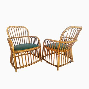 Spanish Rattan Armchairs from El Junco, 1950, Set of 2