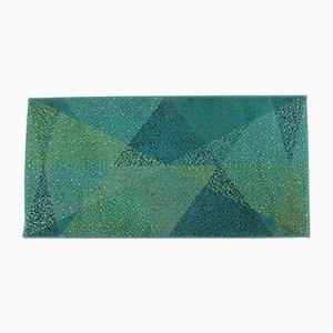 Tappeto piccolo geometrico verde, anni '70