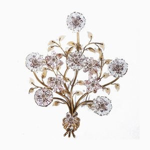 Sconce with Glass Flowers from Lobmeyr, 1950s