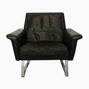 Vintage Danish Black Leather Lounge Chair
