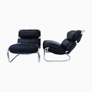 Italian Leather Lounge Chairs, 1970s, Set of 2