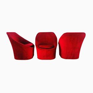 Sillones de terciopelo rojo rubí, años 70. Juego de 3