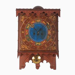 Reloj danés de madera con signos del zodiaco, siglo XIX