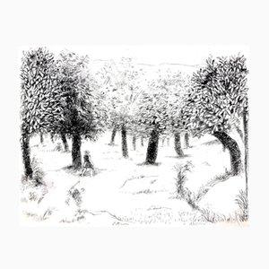 Gravure à l'Eau-Forte Paysage par Robert Lotiron, 1946