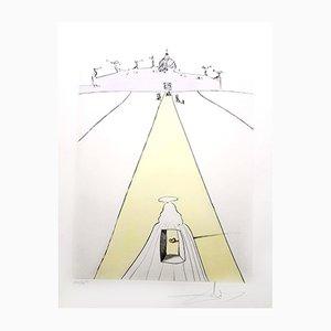 Gravure à l'Eau-Forte, Dieu, le Temps, l'Espace et le Pape par Salvador Dalí, 1974