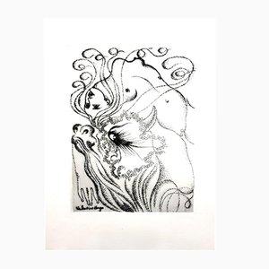 Gravure à l'Eau-Forte Femme Surréaliste par Valentine Hugo, 1946