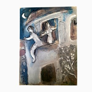 Litografia originale The Bible - David saved by Michael di Marc Chagall 1960