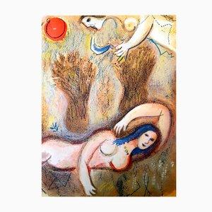 Boaz wacht auf und sieht Ruth Lithografie von Marc Chagall, 1960