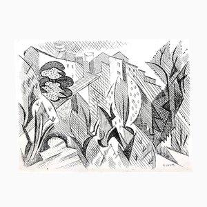 Aguafuerte Cubist Landscape Etching de André Lhote, 1946