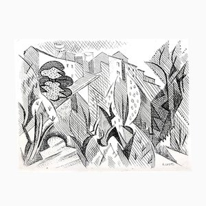 Cubist Landscape Etching by André Lhote, 1946