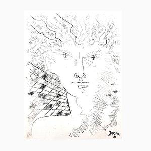 Portrait Radierung von Jean Cocteau, 1946