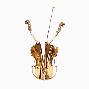 Escultura de violín de bronce dorado de Arman, 2004