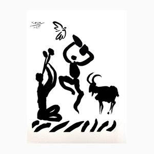 Flötenspieler Lithografie von Pablo Picasso, 1959