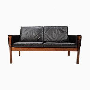 Brasilianisches AP 62 2-Sitzer Sofa aus Palisander & Leder von Hans J. Wegner für A. P. Stolen, 1960er
