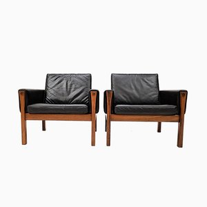 AP 62 Brazilian Rosewood & Leather Chairs by Hans J. Wegner for A. P. Stolen, 1960s, Set of 2