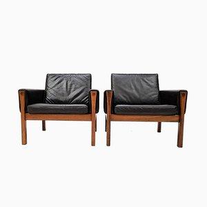 Brasilianische AP 62 Sessel aus Palisander & Leder von Hans J. Wegner für A. P. Stolen, 1960er, 2er Set