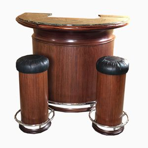 Mueble bar de palisandro de Brasil con taburetes, años 70