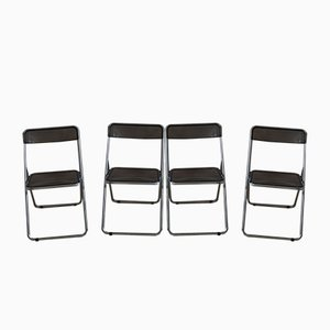Folding Chairs in Smoked Plexiglas & Chrome, 1970s, Set of 4