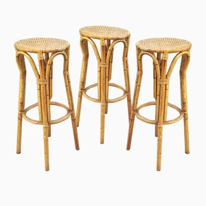 Vintage Rattan and Bamboo Stools, Set of 3