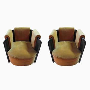 Velvet and Blackened Wood Art Deco Armchairs, 1950s, Set of 2
