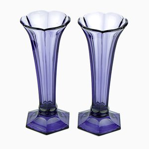 Art Deco Purple Vases from Val Saint Lambert, 1930s, Set of 2