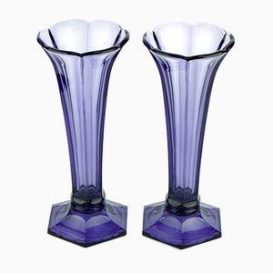 Violette Art Deco Vasen von Val Saint Lambert, 1930er, 2er Set