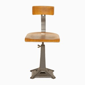 Antique Grey Singer Work Stool from Simanco
