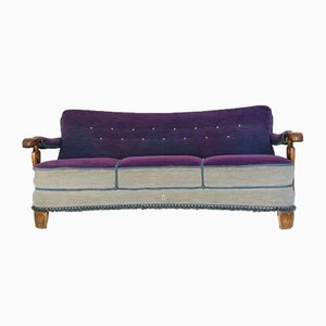 Italian Purple 3-Seater Sofa, 1950s