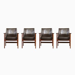 Mid-Century Rosewood Armchair by Ib Kofod Larsen for Fröscher, Set of 4