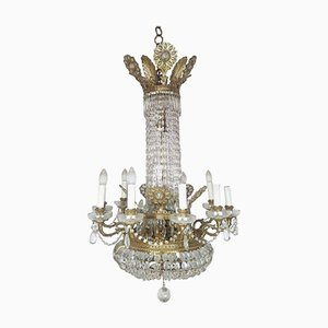 Antique Bronze and Gold-Plated Balloon Chandelier with Crystals, 1880s