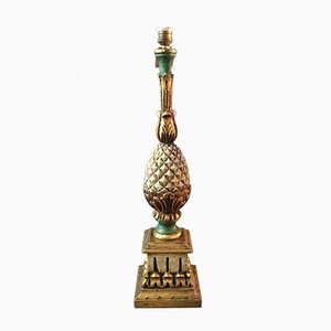 Französische Vintage Tischlampe aus Holz in Ananas-Optik