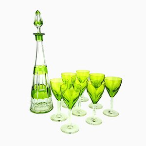 Grüne Art Deco Likörkaraffe mit Gläsern von Val Saint Lambert, 1930er