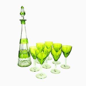 Servicio de licor Art Déco verde de Val Saint Lambert, años 30