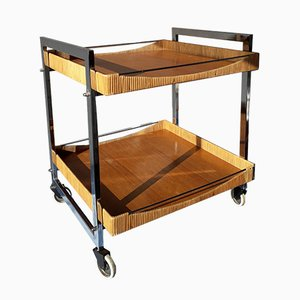 Vintage Chrome & Wood Trolley with Bamboo Cane Edging