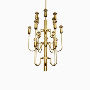 Sculptural Italian Brass Chandelier, 1960s