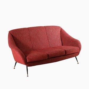 3-Sitzer Sofa mit Gestell aus Metall & Messing, 1960er