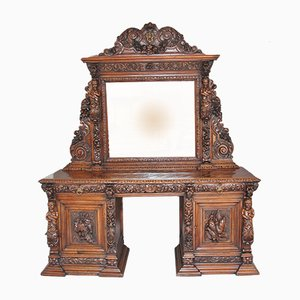 Antique Carved Oak Pedestal Sideboard