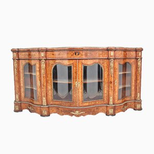 Antique Walnut and Glass Credenza