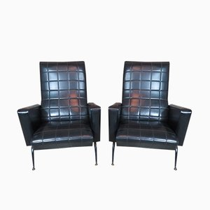 French Black Armchairs, 1970, Set of 2