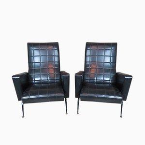 Schwarze französische Armlehnstühle, 1970er, 2er Set