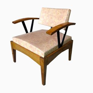 Beech & Skai Armchairs from Baumann, 1980s, Set of 2