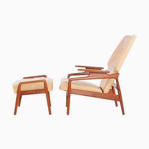 Danish Wingback Teak Chair with Ottoman by John Boné, 1960s