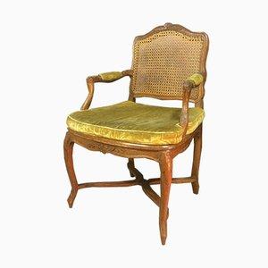 Antique Cane & Walnut Armchair