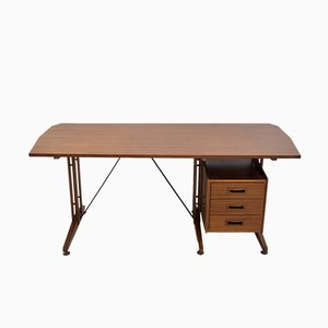 Italian Writing Table in Teak & Painted Metal, 1960s