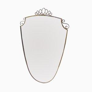 Italienischer Spiegel mit Messingrahmen, 1940er